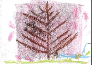ゆうとくん5歳「さくら」クレヨンを横にしたり、考えて描いてますね!桜の花が満開です!